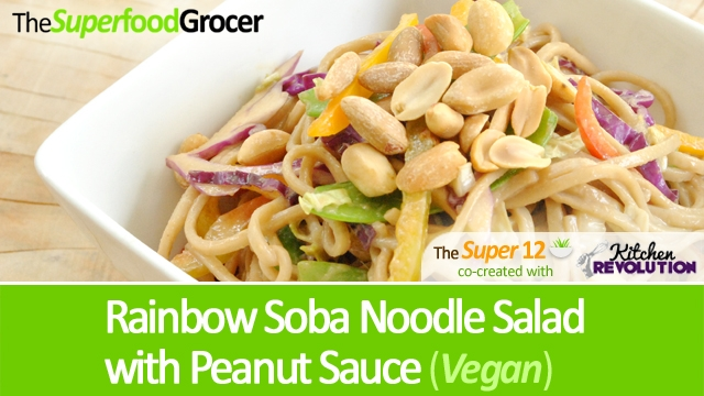 Super Recipe: Rainbow Noodle Salad with Peanut Sauce (Vegan)