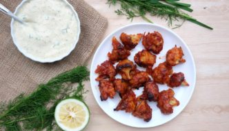 Cauliflower 'Buffalo' Wings and Tofu Ranch Dip
